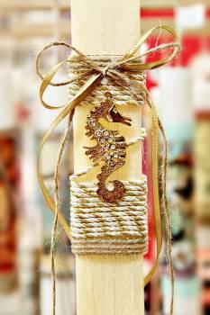 Πασχαλινή λαμπάδα 17064 Ιππόκαμπος χρυσός πλακέ λαμπ. Ύψος 25