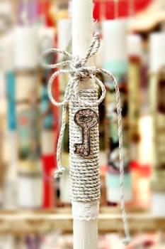 Πασχαλινή λαμπάδα 17097 Κλειδί ασημί Ύψος 25 ΜΜ0060