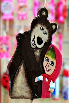 Πασχαλινή λαμπάδα Πλακέτα αρκούδος και κορίτσι 19x12x2cm