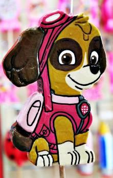 Πασχαλινή λαμπάδα Πλακέτα ροζ σκυλάκι 17x11x2cm
