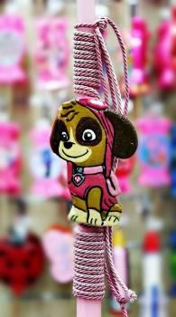 Πλακέτα σε λαμπάδα πλακέτα ροζ σκυλάκι 36εκ