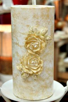 Χειροποίητο κερί γάμου για κηροστάτη με 2 κέρινα λουλούδια vintage 10x20cm