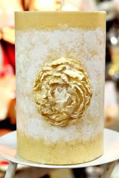 Χειροποίητο κερί γάμου για κηροστάτη vintage με λουλούδι 10x15cm