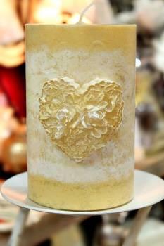 Χειροποίητο κερί γάμου για κηροστάτη vintage με καρδιά 10x15cm