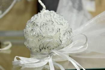 Κέρινη μπομπονιέρα μπάλα λουλουδιών 6*6*6cm