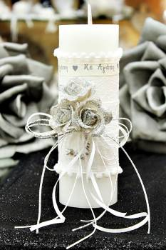 Χειροποίητο διακοσμητικό αρωματικό κερί με μπουκέτο ''Με Αγάπη'' 6.5x20cm