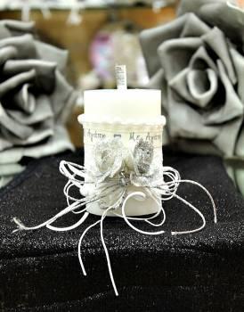 Χειροποίητο διακοσμητικό αρωματικό κερί με μπουκέτο ''Με Αγάπη'' 6.5x10cm