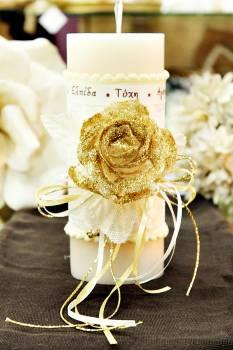 Χειροποίητο διακοσμητικό αρωματικό ιβουάρ κερί με τριαντάφυλλα και ευχές 8x20cm