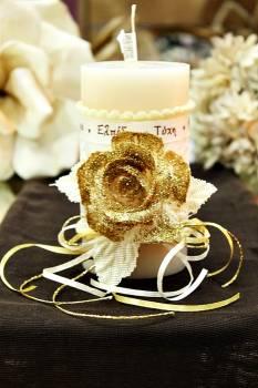 Χειροποίητο διακοσμητικό αρωματικό ιβουάρ κερί με τριαντάφυλλα και ευχές 8x15cm