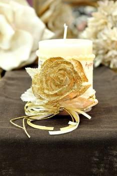 Χειροποίητο διακοσμητικό αρωματικό ιβουάρ κερί με τριαντάφυλλα και ευχές 8x10cm