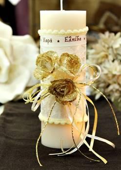 Χειροποίητο διακοσμητικό αρωματικό ιβουάρ κερί με μπουκέτο τριαντάφυλλα και ευχές 6.5x20cm