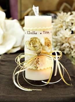 Χειροποίητο διακοσμητικό αρωματικό ιβουάρ κερί με μπουκέτο τριαντάφυλλα και ευχές 6.5x15cm
