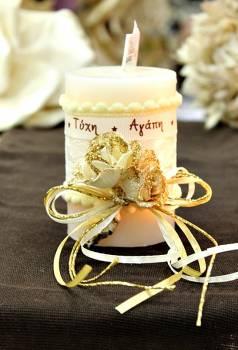 Χειροποίητο διακοσμητικό αρωματικό ιβουάρ κερί με μπουκέτο τριαντάφυλλα και ευχές 6.5x10cm