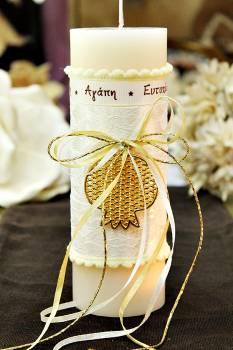 Χειροποίητο διακοσμητικό αρωματικό ιβουάρ κερί με χρυσό ρόδι και ευχές 6.5x20cm