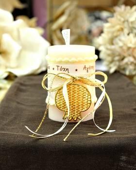 Χειροποίητο διακοσμητικό αρωματικό ιβουάρ κερί με χρυσό ρόδι και ευχές 6.5x10cm