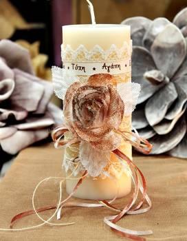 Χειροποίητο διακοσμητικό αρωματικό ιβουάρ κερί με μπρονζέ τριαντάφυλλο και ευχές 8x20cm