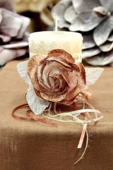 Χειροποίητο διακοσμητικό αρωματικό ιβουάρ κερί με μπρονζέ τριαντάφυλλο και ευχές 8x10cm
