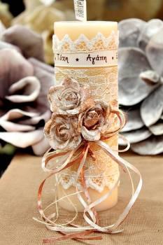 Χειροποίητο διακοσμητικό αρωματικό ιβουάρ κερί με μπρονζέ μπουκέτο τριαντάφυλλα και ευχές 6.5x20cm