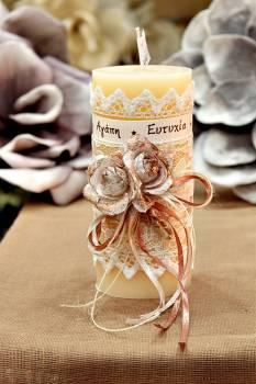 Χειροποίητο διακοσμητικό αρωματικό ιβουάρ κερί με μπρονζέ μπουκέτο τριαντάφυλλα και ευχές 6.5x15cm