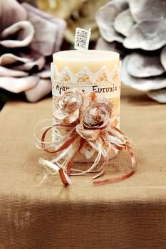 Χειροποίητο διακοσμητικό αρωματικό ιβουάρ κερί με μπρονζέ μπουκέτο τριαντάφυλλα και ευχές 6.5x10cm