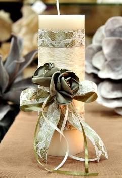 Χειροποίητο διακοσμητικό αρωματικό ιβουάρ κερί με πράσινα λουλούδια 6.5x20cm