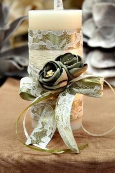 Χειροποίητο διακοσμητικό αρωματικό ιβουάρ κερί με πράσινα λουλούδια 6.5x15cm