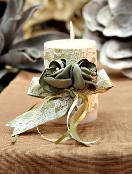 Χειροποίητο διακοσμητικό αρωματικό ιβουάρ κερί με πράσινα λουλούδια 6.5x10cm