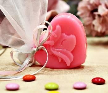 Μπομπονιέρα βάπτισης με μονόκερο σε ροζ καρδιά 7x6x2