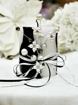 Χειροποίητο τυλιχτό αρωματικό κερί ασπρόμαυρο με πέρλες 8x10cm