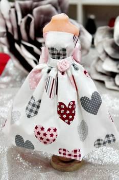 20Β007 Φόρεμα λευκό με καρδιές
