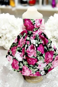 20Β012 Φόρεμα φλοράλ μαύρο-φουξ