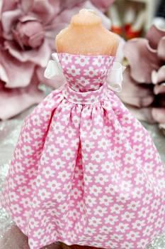 20Β016 Φόρεμα ροζ με λευκές μαργαρίτες