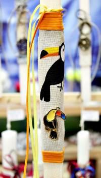 Πασχαλινή λαμπάδα 20020 μεταλλάκι πουλί τουκάν Ύψος 25
