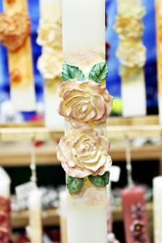 Πασχαλινή λαμπάδα 20ΝΤ010 διπλό τριαντάφυλλο ροζ Ύψος 25