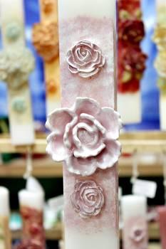 Πασχαλινή λαμπάδα 20ΝΤ012 Τριαντάφυλο 1+2 ροζ Ύψος 25