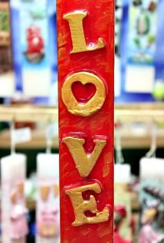 Πασχαλινή λαμπάδα 20ΝΤ037 Love Κόκκινο - Χρυσό Ύψος 25