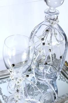 Set silver - black tall decanter & glass