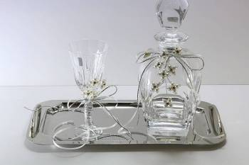 set  squared  decanter  silver - off-white  flower