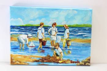HANDMADE ON CANVAS  35x25  children - sea