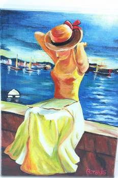 HANDMADE ON CANVAS 35x25 woman - sea