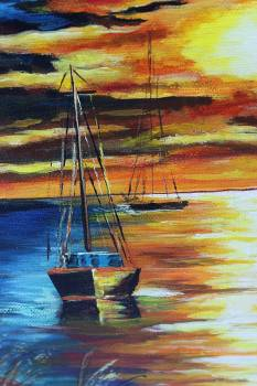 HANDMADE ON CANVAS 35x25  boat to sea