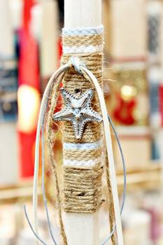 Πασχαλινή λαμπάδα 19003 αστερίας γαλάζιος με κορδόνι λινάτσα Ύψος 25