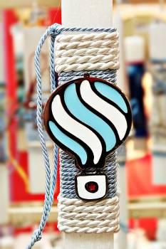 Πασχαλινή λαμπάδα 19042 μεγάλο αερόστατο γαλάζιο λευκό σε κορδόνι Ύψος 25