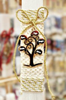 Πασχαλινή λαμπάδα 19058 δέντρο ζωής με ευχές σε κορδέλα Ύψος 25