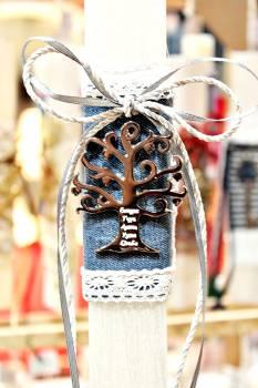 Πασχαλινή λαμπάδα 19062 δέντρο ζωής ασημί σε τζιν Ύψος 25