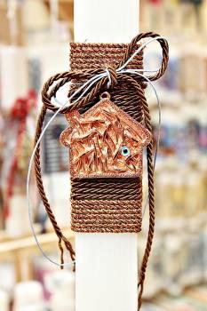 Πασχαλινή λαμπάδα 19063 μπρονζέ σπίτι με μάτι σε κορδόνι Ύψος 25