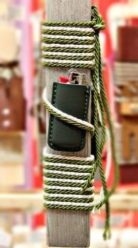 19Δ013 θήκη αναπτήρα πράσινη vegan eco leather