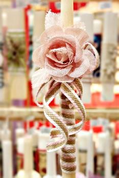 Πασχαλινή λαμπάδα 19Δ051 big rose ροζ Ύψος 38