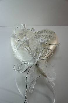 heart tail silver - white with names and butterfly