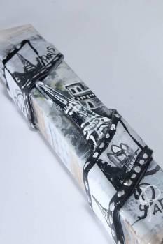 Πασχαλινή λαμπάδα 17Χ037 ΠΑΡΙΣΙ ΑΣΠΡΟΜΑΥΡΟ 25x4x2cm